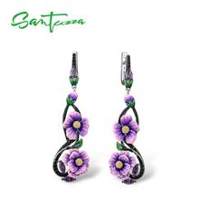 SANTUZZA Silver Earrings For Women Pure 925 Sterling Silver Purple Flowers Drop Earrings Wedding Fine Jewelry Handmade Enamel