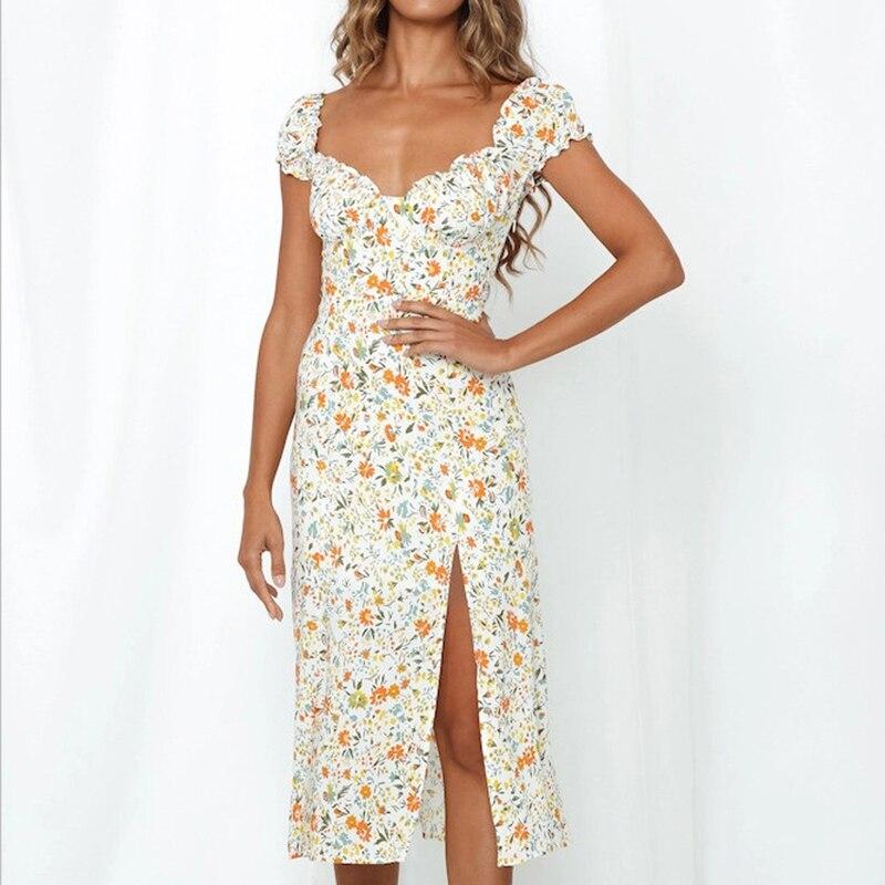 2020 Summer Vintage Party Dress V-neck Elegant Sexy Dress Beach Female Floral Print Mid Dresses Vestidos