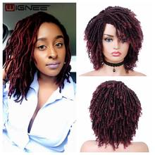 Wignee court bordeaux perruques synthétiques pour les femmes noires Dreadlock redoute coiffure africaine tressage Crochet torsion Fiber cheveux perruque(China)