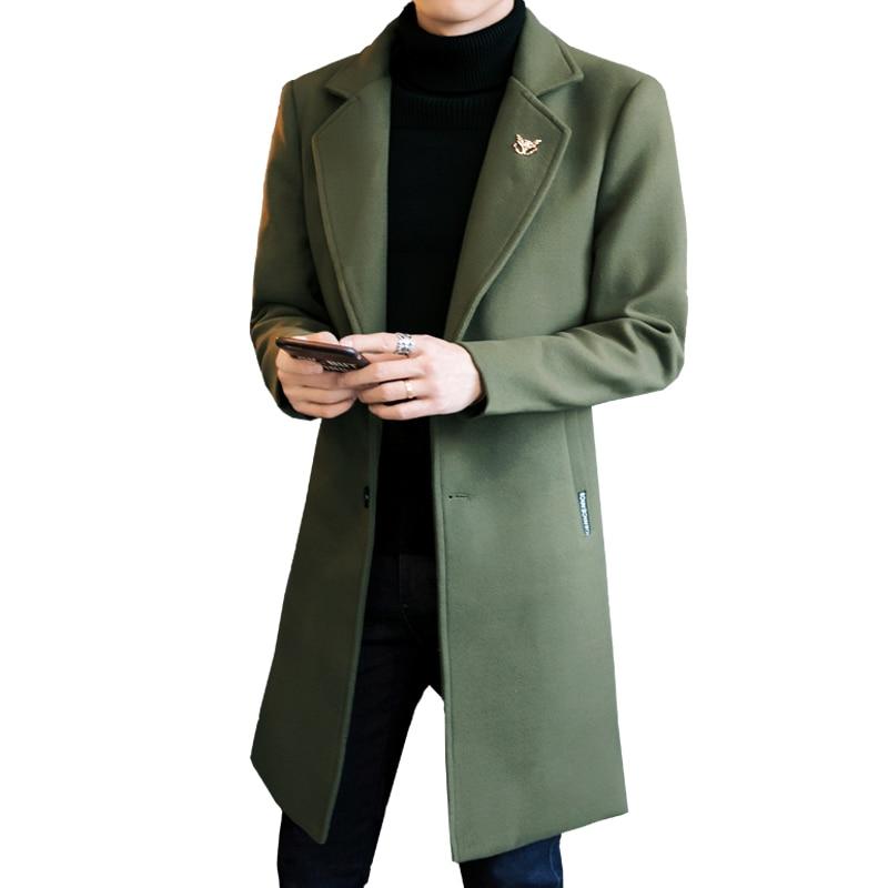 2019 Autumn Men's Solid Color Slim Long Woolen Coat Collar Beautiful Accessories Men's British Wind Single-breasted Windbreaker
