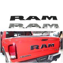 Um conjunto porta traseira do carro 3d ram carta logotipo emblema tronco traseiro emblema adesivo para dodge ram 1500 2500 3500 2015 2016 2017 2018