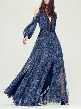 BGW Deep V Neck Long Sleeves Chiffon A Line Evening Dresses Floral Print Cristal Chiffon Vestido De Noite Longo Para Festa 2020