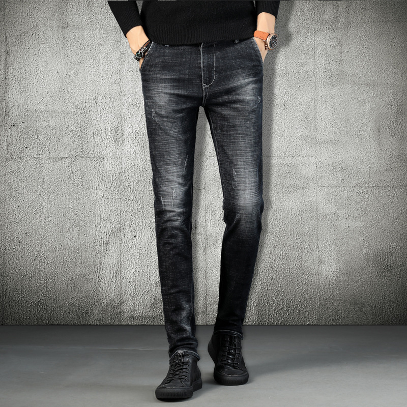 Autumn New Style MEN'S Jeans Youth Korean-style Slim Fit Skinny Pants Men Fashion Cowboy Trousers Versatile Pants