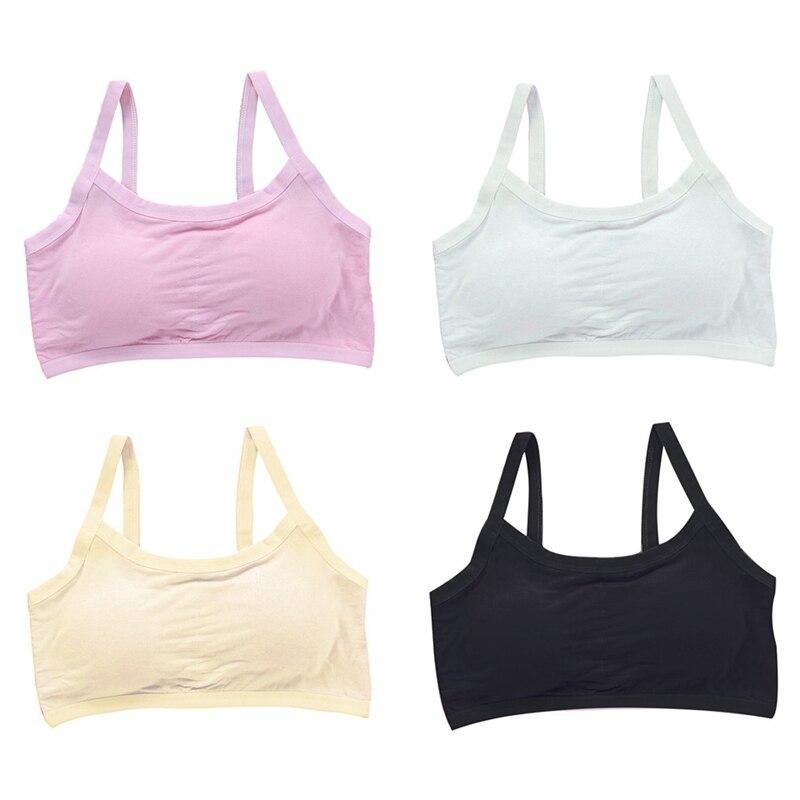 Girls Bra Girls Summer Solid Print Seamless Backless Training Bra Teenage Soft Cotton Underwear