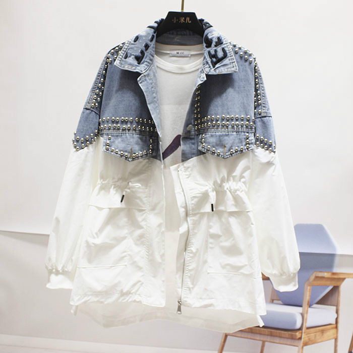 Fall 2019 New Loose Large Size Rivet Bead   Trench   Coat Broken Holes Denim Windbreaker Girls Student Streetwear Coat Coats Femme