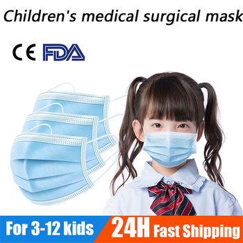 100 PCS/lot  Disposable Children's Medical Surgical Mask 3 layer Non-Woven Elastic Protective Mask Soft Breathable Face mask