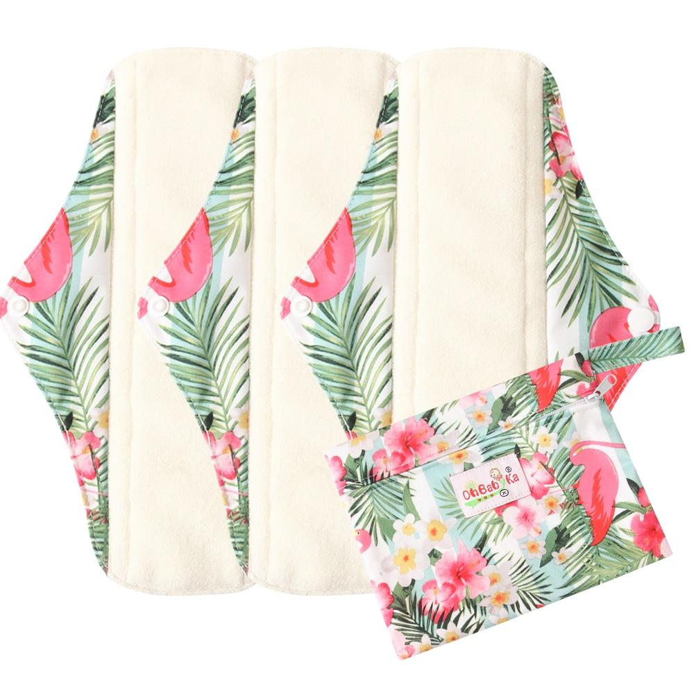 4Pack Organic Bamboo Inner Washable Reusable Feminine Hygiene Menstrual Pads Ohbabyka Sanitary Pads Lady Cloth Pad Panty Liner