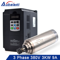 Aubalasti 3kw Water Cooling Spindle 380V + Inverter 3 Phase 380V 4KW Current 9A for CNC Router machine