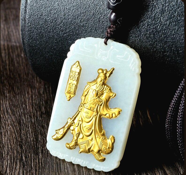 Naturel chinois Hetian blanc Jade mosaïque or pendentif Guan Yu beau bijoux collier sculpté mode pour hommes amulette cadeaux - 5