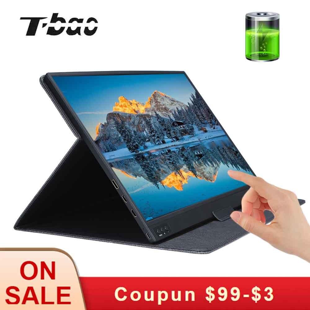 T-bao tela sensível ao toque monitor portátil 1920x1080 hd ips 15.6 polegadas monitor de exibição 8000 mah bateria recarregável com estojo de couro