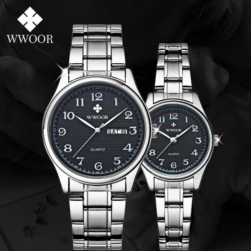 2020 Fashion Couple Watches Pair Men And Women WWOOR Top Luxury Gift Watch Male Female Quartz Lover Clock Box Relogios Masculino