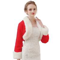 Christmas Red And White Fur Vest Capes Female Warm Hair Shawl Bride Dress Thick Outdoor Real Photo Jacket Woman Fashion Shawl
