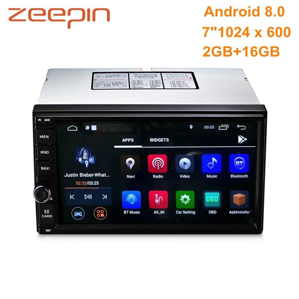 ZEEPIN Универсальный 2din Android8.0 автомобильный мультимедийный плеер 7 ''сенсорный экран зеркало ссылка gps FM RDS Bluetooth Автомагнитола