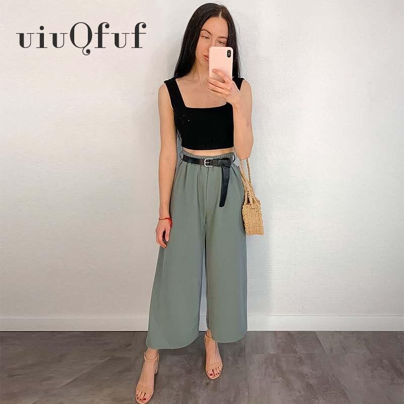 Women' S Trousers Elegant Fashion Stylish Belt High Waist Pants Women Casual Wide Leg Pants Casual Elastic Waist