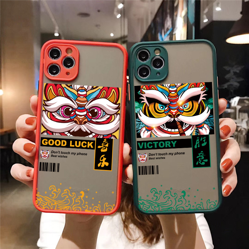 Phone Case Chinese style dragon and lion dance For 7 8 6s Plus Cover iphone 12 11 Pro Max mini For iphone X XR XS Max SE 2020
