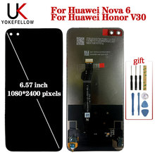 Original 6.57'' LCD For Huawei Nova 6 WLZ-AL10 LCD Display Replacement Screen Tested LCD For Huawei Honor V30 Screen Display