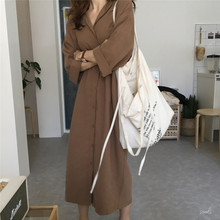 Autumn dress 2019 New Loose Turn-collar Dresses/Long Windswear Dresses with Belts Received