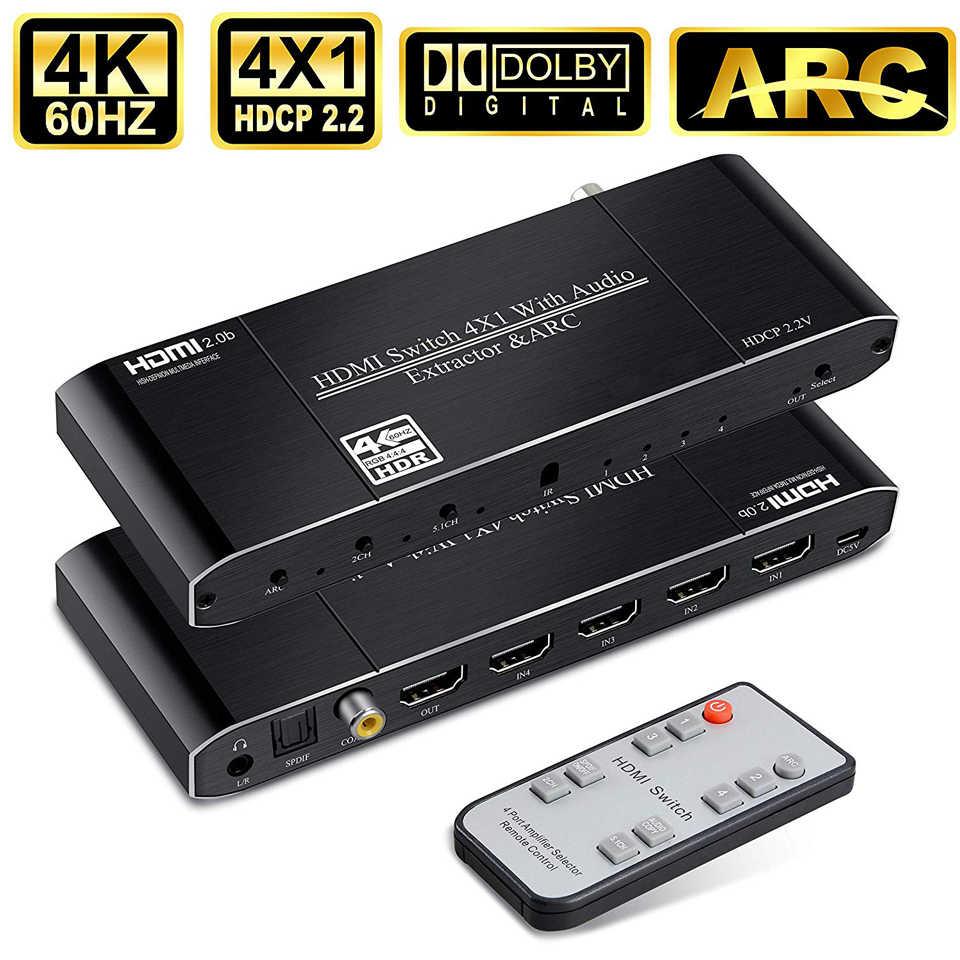 Mini 4K HDMI Schalter 2x1 HDMI 2,0 Schalter Box 4x1 HDR HDMI Switcher Audio Extractor mit ARC & IR Control Für PS4 Apple TV HDTV