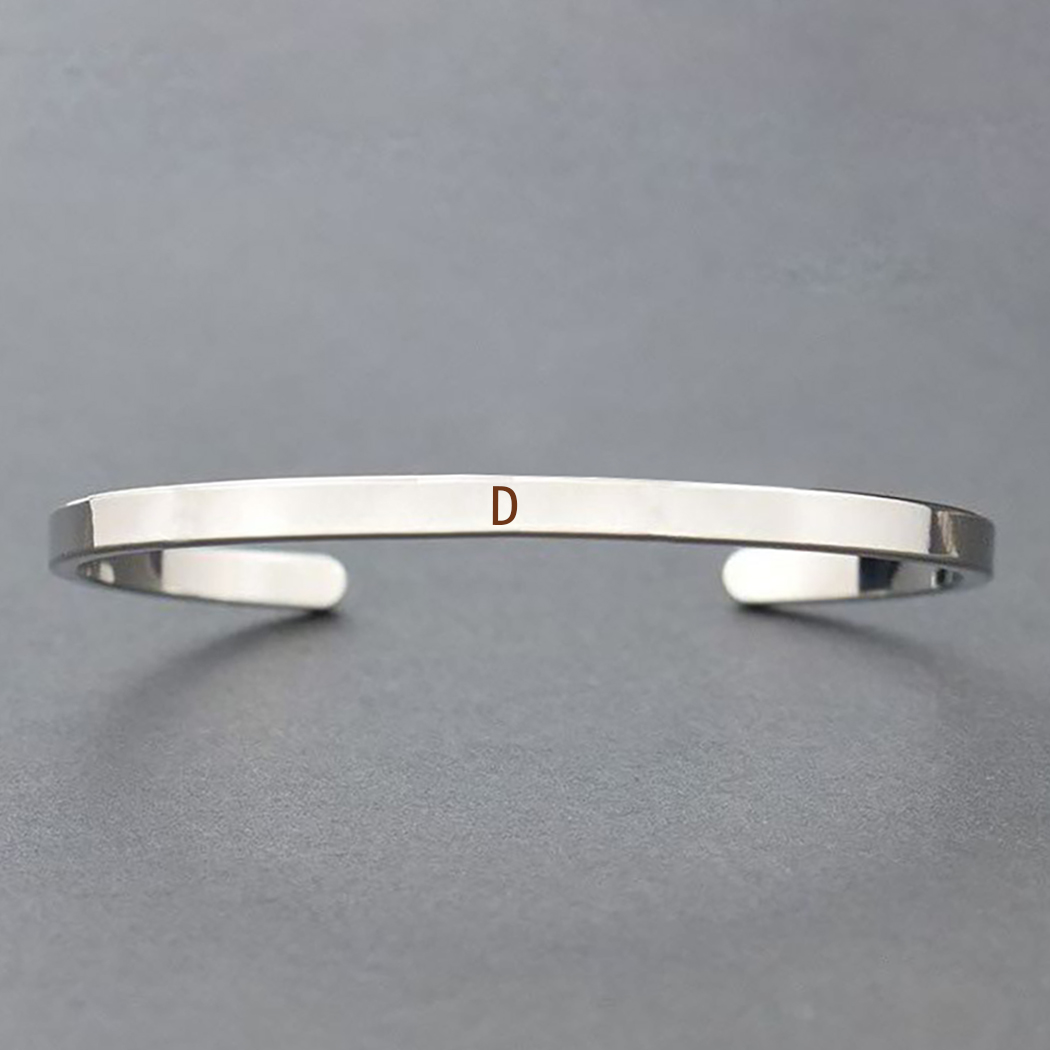 Personalized Simple Initial Bracelets 26 Letters Stainless Steel Cuff Bracelet Silver Plated Friendship Bracelet Gifts in Cuff Bracelets from Jewelry Accessories