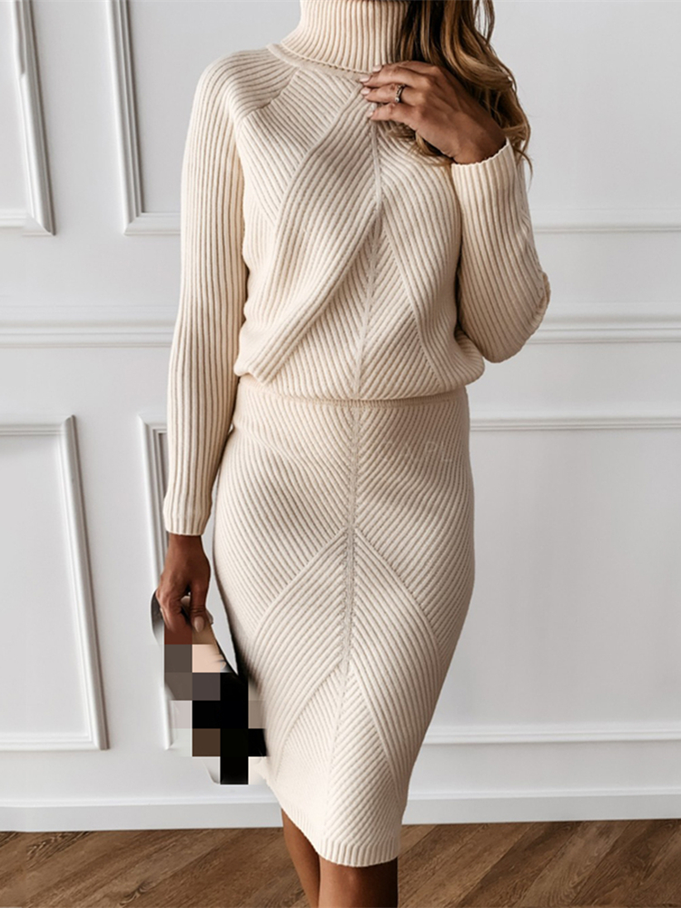 Knitting Costume Skirt Sweater Pullover Turtleneck Two-Piece-Set Autumn Women's Solid
