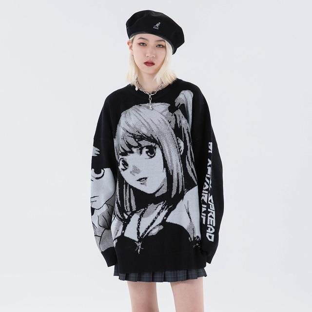 Knitted Harajuku Winter Clothes Women 2020 Oversized Sweaters Long Sleeve Top Gothic Fashion Japanese Kawaii Cartoon Streetwear 2