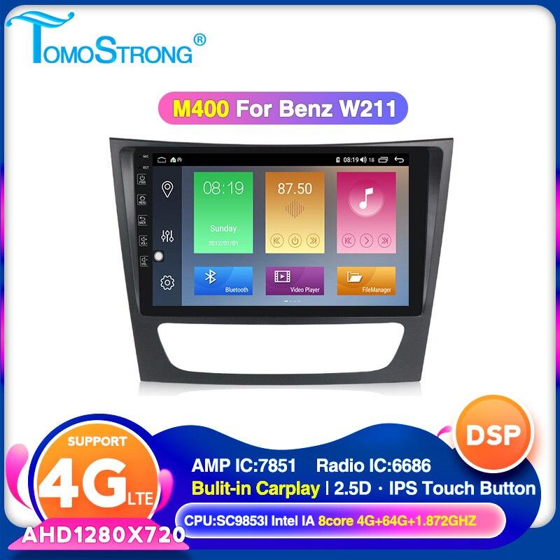 TOMOSTRONG AHD1280 x720 אנדרואיד 10 רכב נגן וידאו עבור מרצדס בנץ e-class W211 E200 E220 E300 E350 E240 e270 E280 CLS