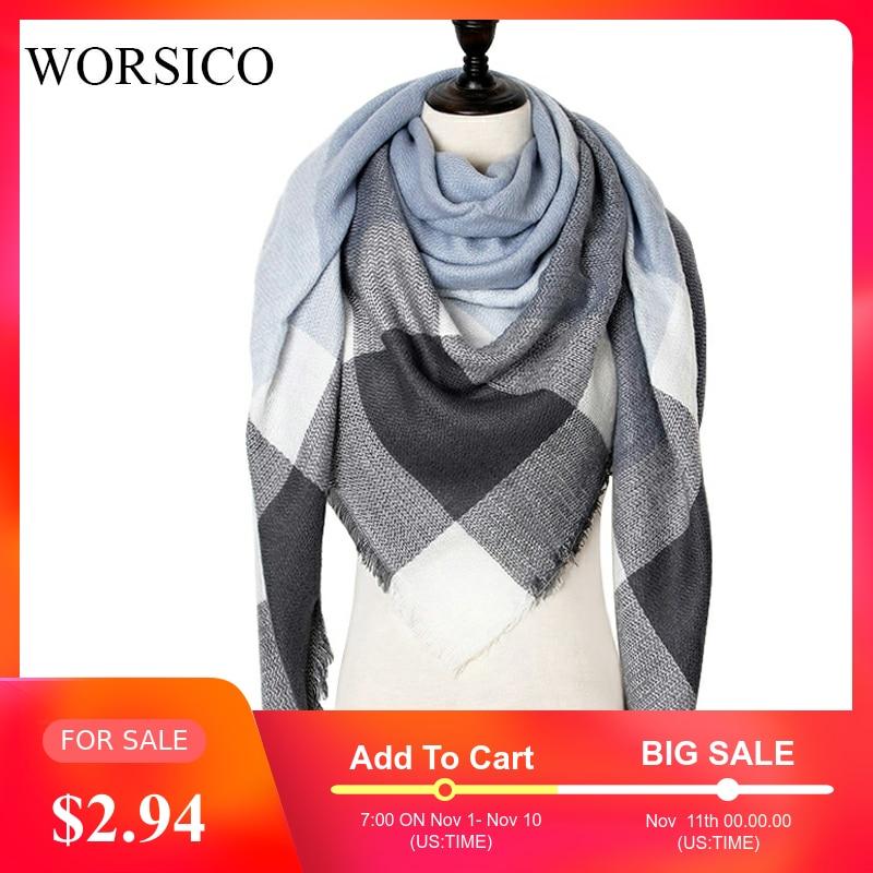 Winter Cashmere Scarf Women Scarf Plaid Blanket 2019 New Designer Female Triangle Pashmina Shawls And Scarves 140*140*210cm