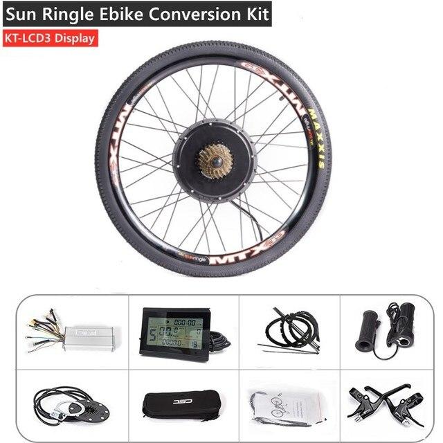 MTB Ebike Rear Wheel Conversion Kit with MTX39 Thick Welding Rim KT LCD3 Display Tire Tube Freewheel Disc Brake