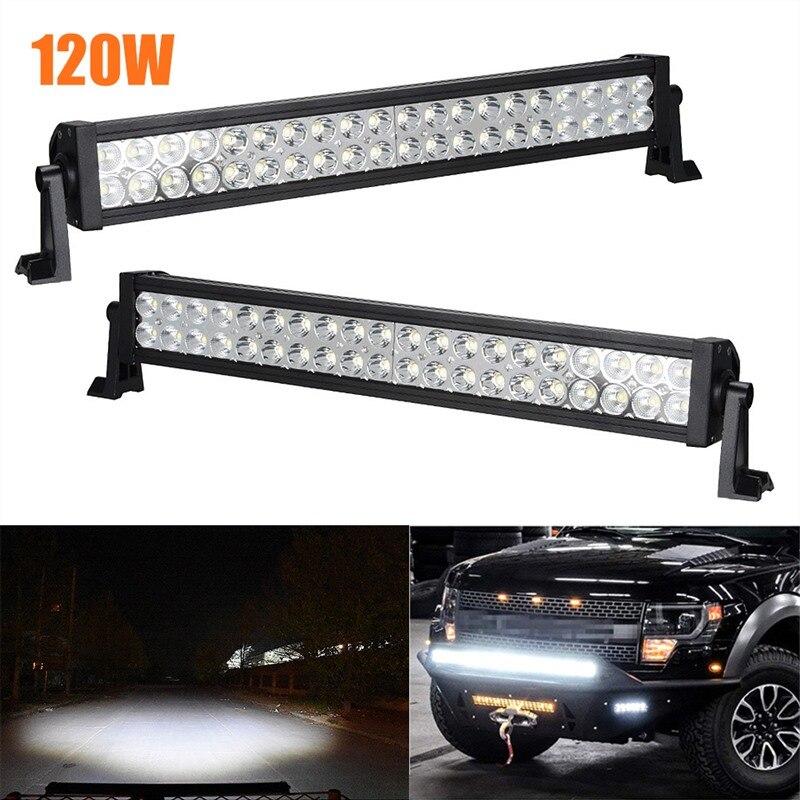120W LED lumière de bande pour les phares de voiture projecteur de lumière de tache d'inondation conduite lampe de travail hors route bateau camion 12V voiture lumière LED lampes