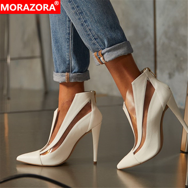 MORAZORA 2020 Big Size 48 Ankle Boots For Women Shoes Pointed Toe Zip Sexy Thin High Heel Boots Fashion Summer Shoes Ladies