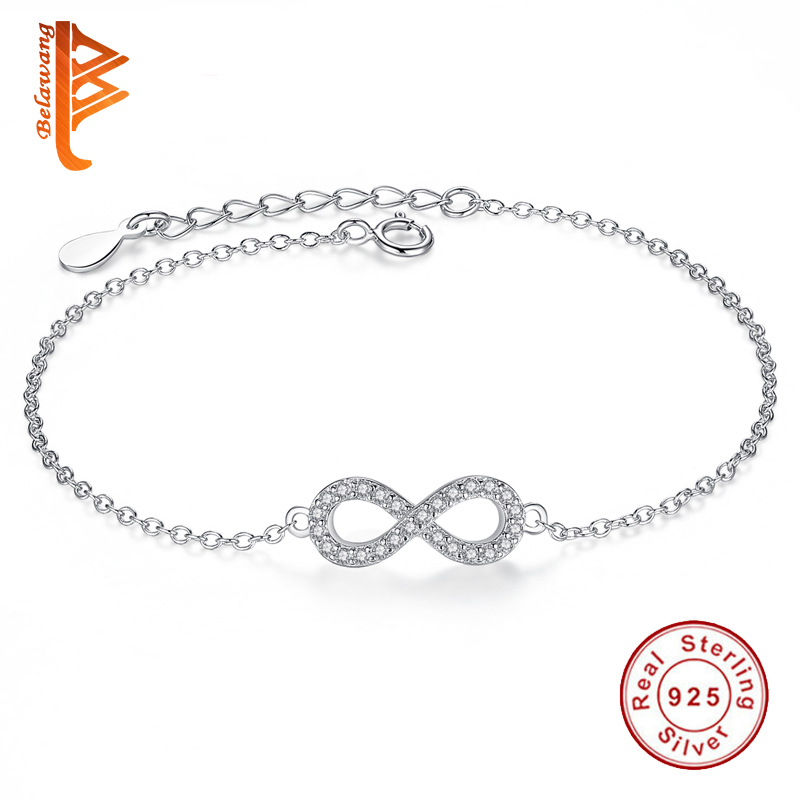 Luxury Solid 925 Sterling Silver Infinity Charm Bracelet Bangle For Women Crystal Beads Bracelet Friendship Authentic Jewelry