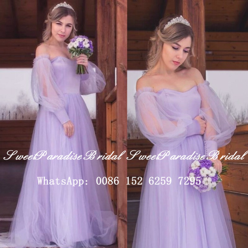 2020 Lavender Tulle Bridesmaid Dresses With Bishop Long Sleeves Off Shoulder Sweetheart A Line Wedding Party Dress Vestidos