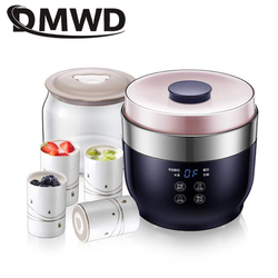 DMWD Microcomputer Greek yogurt maker Four cups yourt Multifunctional For Rice wine/yogurt/cheese 20W Stainless steel liner