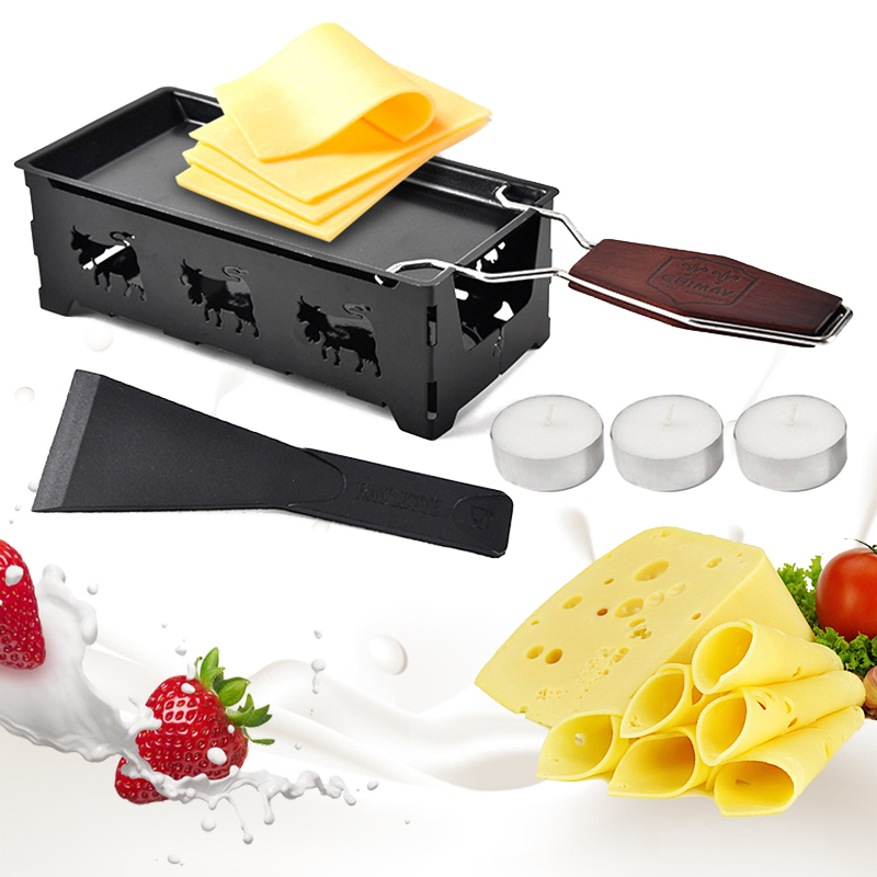 Non-Stick Metal Cheese Raclette Baking Pan Oven Grill Plate Rotaster Baking Tray Stove Frame Spatula Set Kitchen Baking Tool