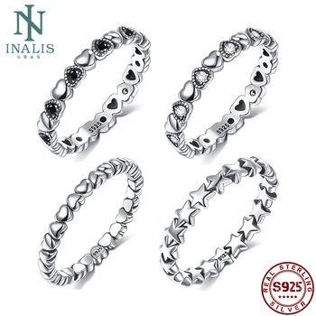 INALIS Hot Sale 925 Sterling Silver 9 Styles Stackable Party Finger Ring For Women Original Fine Jewelry Gift 2020