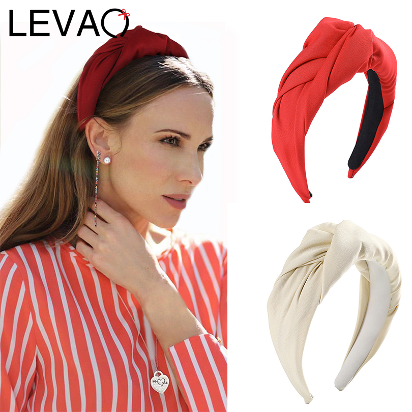 LEVAO Plain Wide-brimmed Headband Knuckle Middle Knotted Hairbands Bezel Turban Women Girls Hair Accessories Hair Hoop Fashion