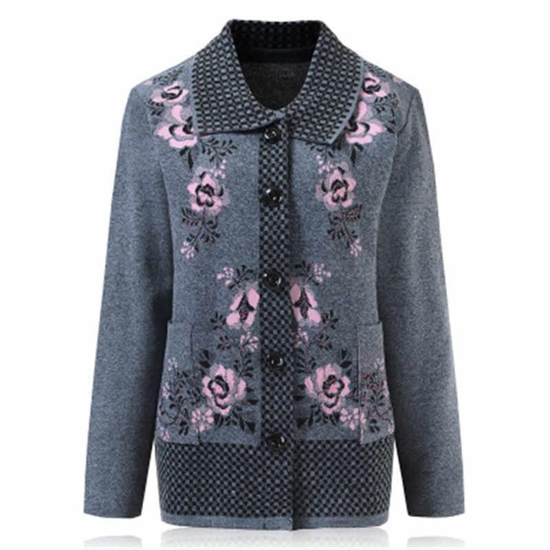중년 및 노인 여성 가을 겨울 의류 따뜻한 카디 건 스웨터 인쇄 스웨터 as1397와 60 / 70 년 할머니