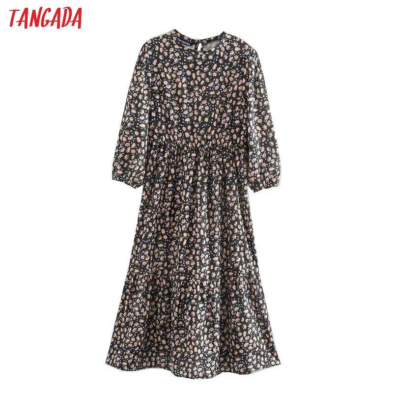 Tangada Spring Fashion Women Flowers Print Dress O Neck Three Quarter Sleeve Ladies Midi Dress Vestidos 5Z127
