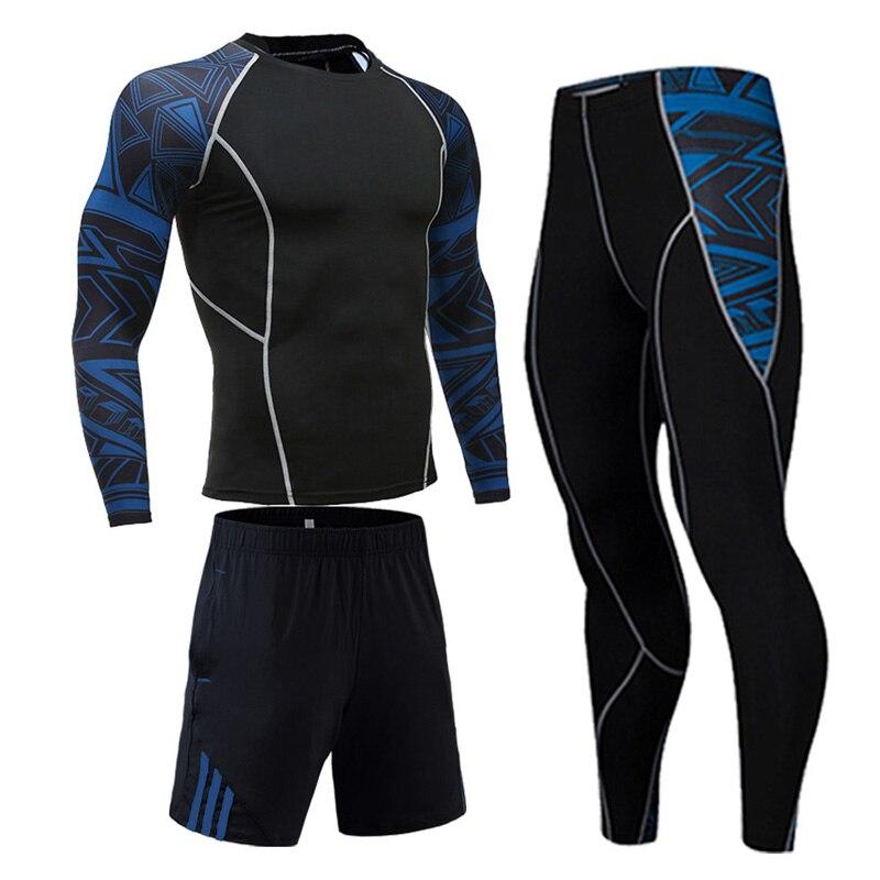 Homem Terno Dos Esportes de secagem Rápida Da Transpiração de Compressão de Treinamento de Fitness Kit MMA rashguard Masculino Sportswear Jogging Correndo Roupas