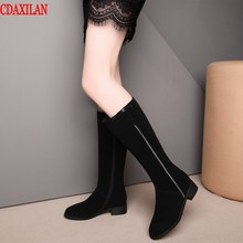 CDAXILAN new to boots women genuine cow suede Mid-heel side zipper Knee-high warm legs addition short pulsh high