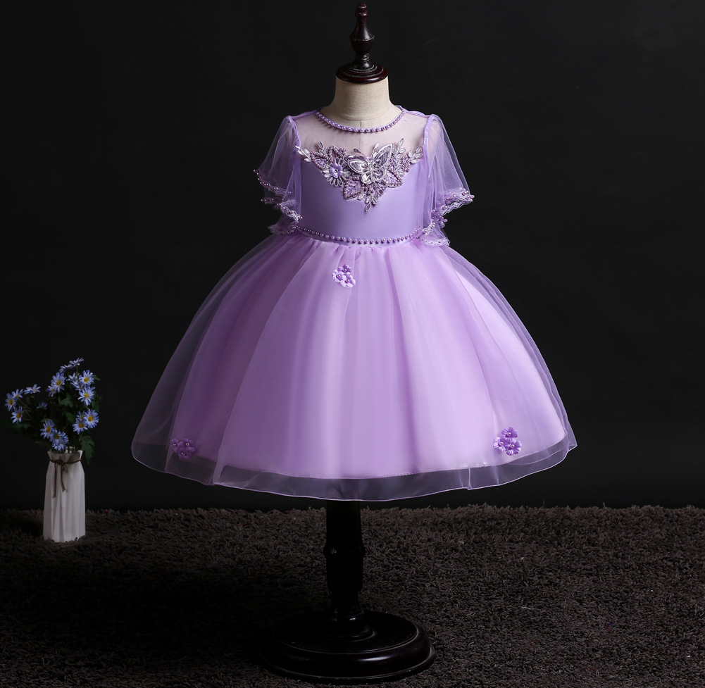 Girls Host Dress Short Princess Skirt Wash Formal Dress Infant Lace Dress