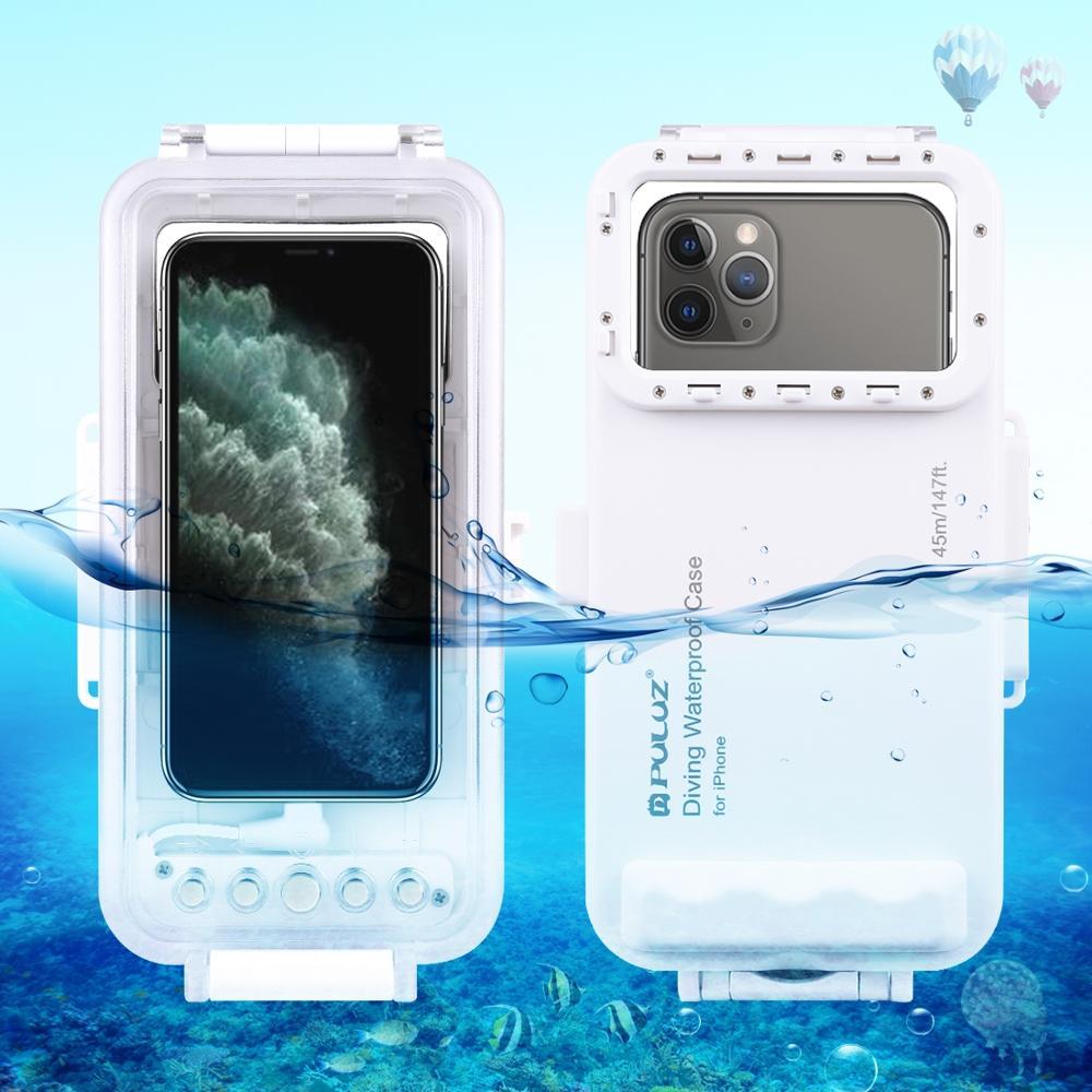 PULUZ 45m étanche boîtier de plongée Photo vidéo prise sous-marine couverture étui pour iphone 11X8 & 7 6 s, iOS 13.0 ou Version supérieure