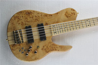 Custom Natural Wood Burl One Piece Neck Through 5 Strings Fodera Butterfly 5 Strings Electric Bass Guitar 12yue
