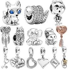 2020 outono nova chegada 925 prata esterlina cobra raposa esquilo grânulos charme caber original pandora pulseira de prata jóias presente