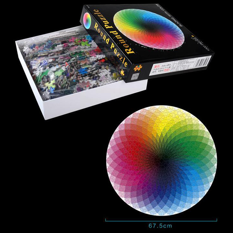 None Pcs/set Colorful Rainbow Round Geometrical Photo Puzzle Adult Kids DIY Educational Reduce Stress Toy Jigsaw Puzzle Paper