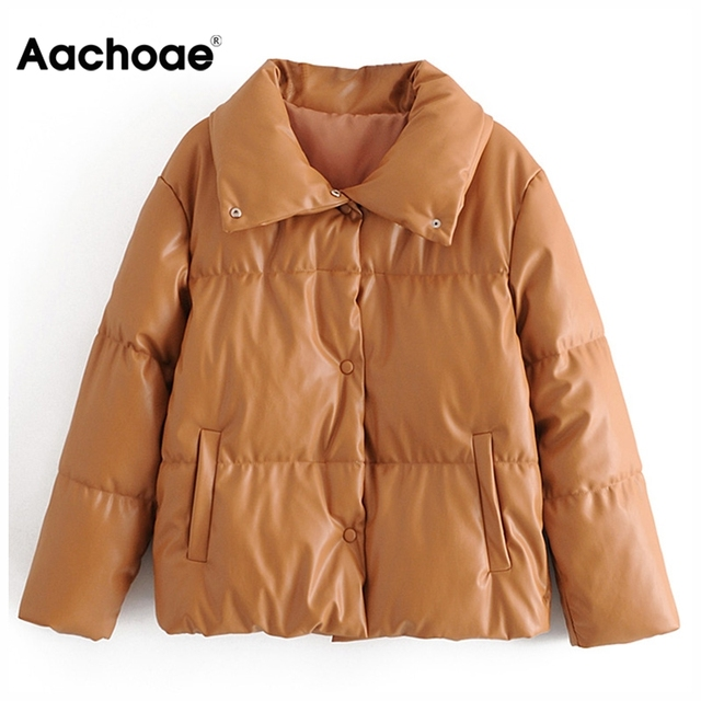 Women PU Leather Parkas Fashion High Street Solid Faxu Leather Coats Elegant Winter Thick Cotton Jackets Loose Outerwear 4