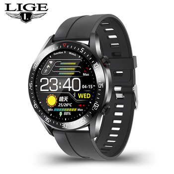 LIGE  fashion Full circle touch screen Mens Smart Watches  IP68 Waterproof Sports Fitness Watch Luxury Smart Watch for men 9
