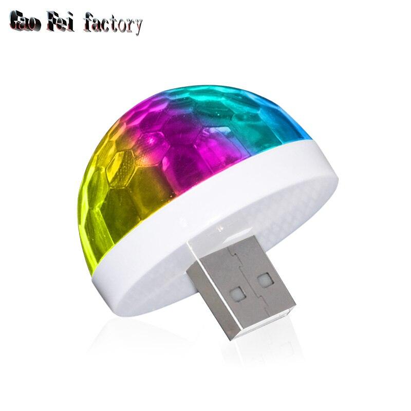 Mini usb luz de discoteca luzes led festa portátil bola mágica cristal colorido efeito estágio lâmpada para festa em casa karaoke decoração