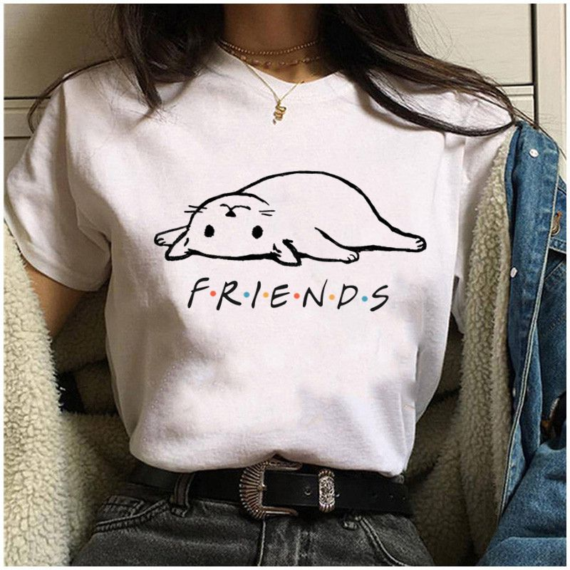 FRIENDS Cute Cat Print Women Tshirt Casual Funny T Shirt For Lady Girl Top Tee Hipster Women's Clothing