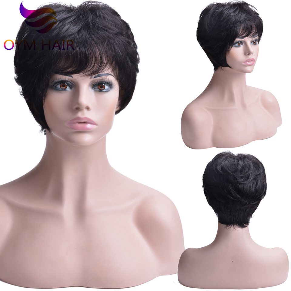 Short Human Hair Wigs For Black Women Wavy Wig Brazilian Remy Hair Free Part Wigs With Bangs